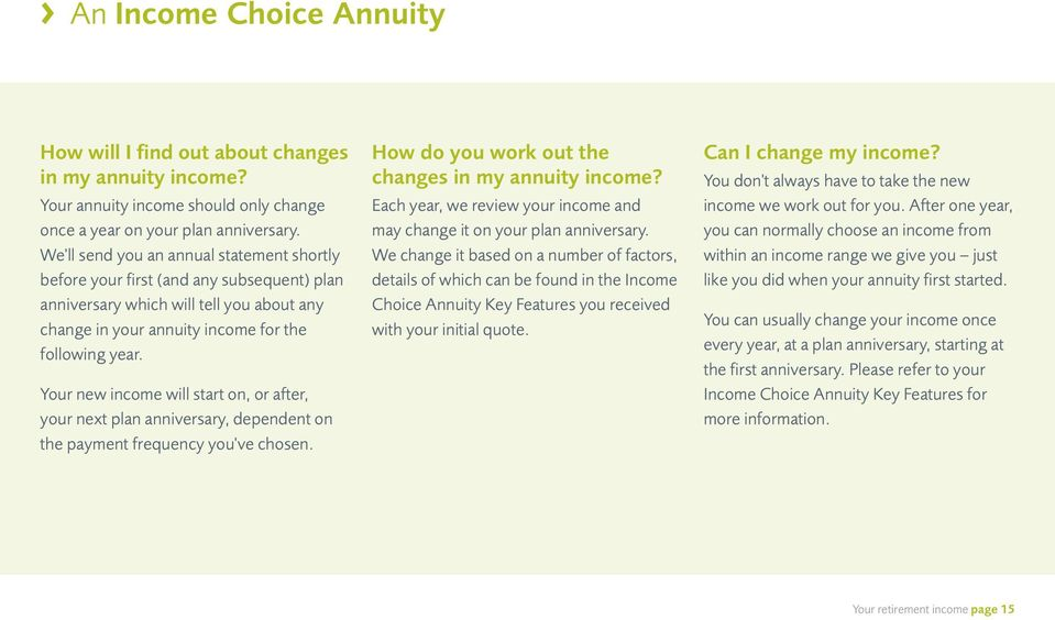 Your new income will start on, or after, your next plan anniversary, dependent on the payment frequency you've chosen. How do you work out the changes in my annuity income?