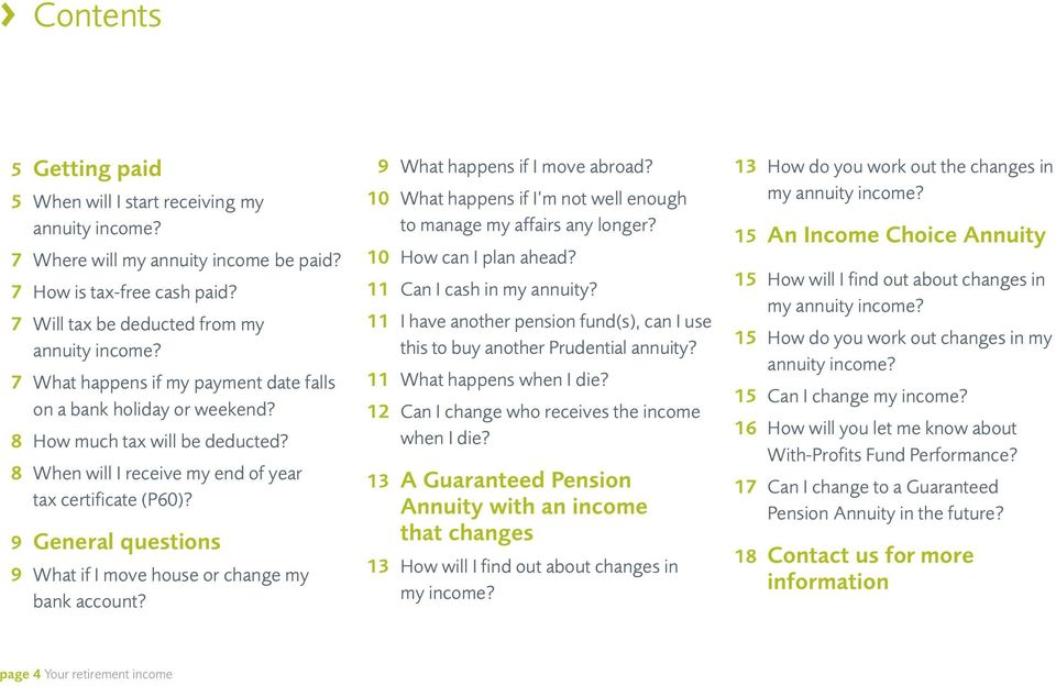9 General questions 9 What if I move house or change my bank account? 9 What happens if I move abroad? 10 What happens if I m not well enough to manage my affairs any longer? 10 How can I plan ahead?