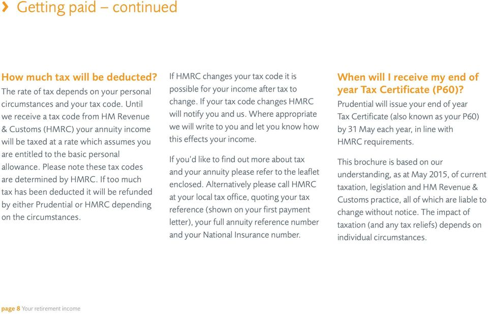 Please note these tax codes are determined by HMRC. If too much tax has been deducted it will be refunded by either Prudential or HMRC depending on the circumstances.