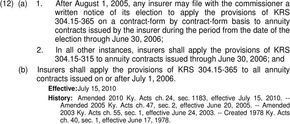 In all other instances, insurers shall apply the provisions of KRS 304.15-315 to annuity contracts issued through June 30, 2006; and (b) Insurers shall apply the provisions of KRS 304.