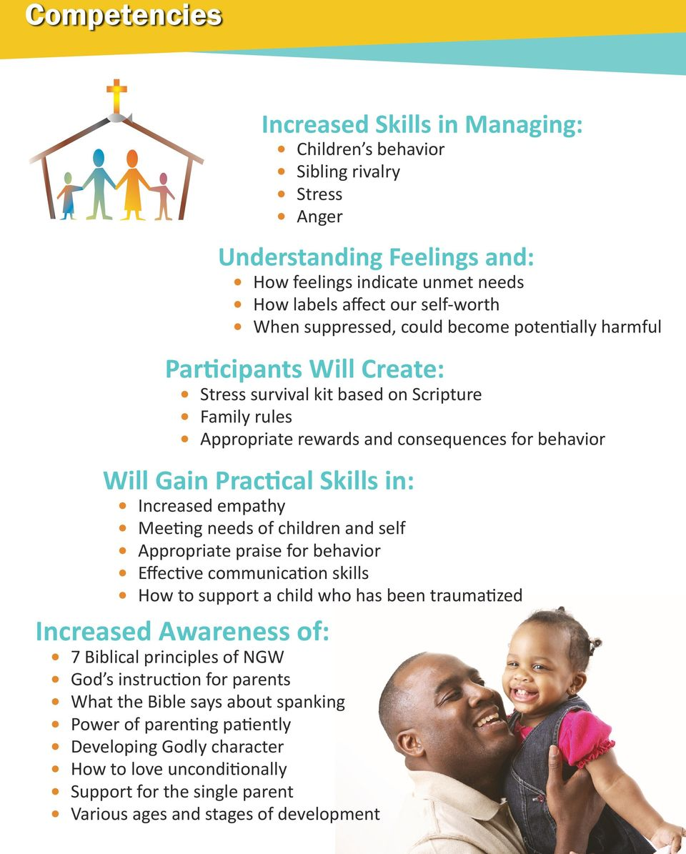 in: Increased empathy Meeting needs of children and self Appropriate praise for behavior Effective communication skills How to support a child who has been traumatized Increased Awareness of: 7
