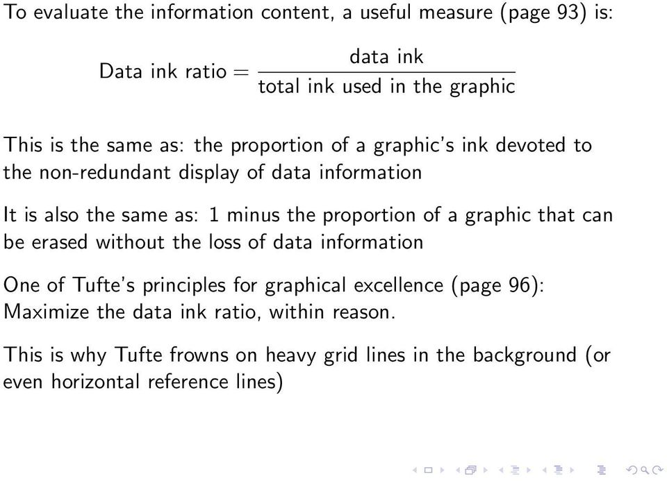 proportion of a graphic that can be erased without the loss of data information One of Tufte s principles for graphical excellence (page