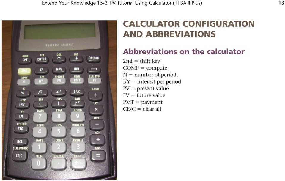 the calculator 2nd shift key COMP compute N number of periods I/Y