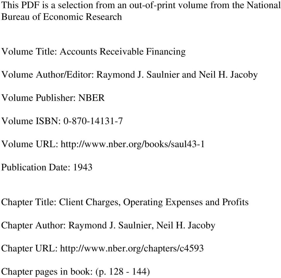 Jacoby Volume Publisher: NBER Volume ISBN: 0-870-14131-7 Volume URL: http://www.nber.