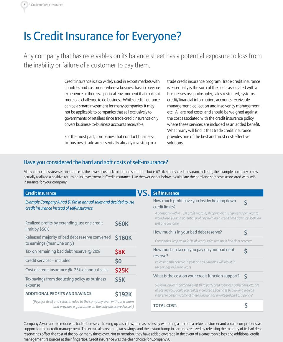 Credit insurance is also widely used in export markets with countries and customers where a business has no previous experience or there is a political environment that makes it more of a challenge