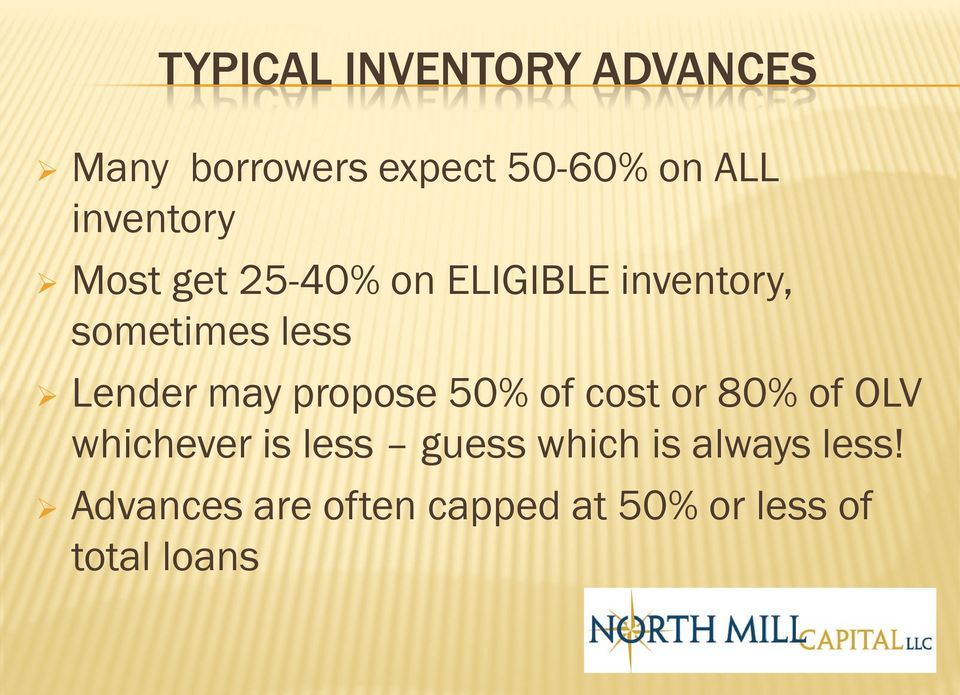 Lender may propose 50% of cost or 80% of OLV whichever is less guess