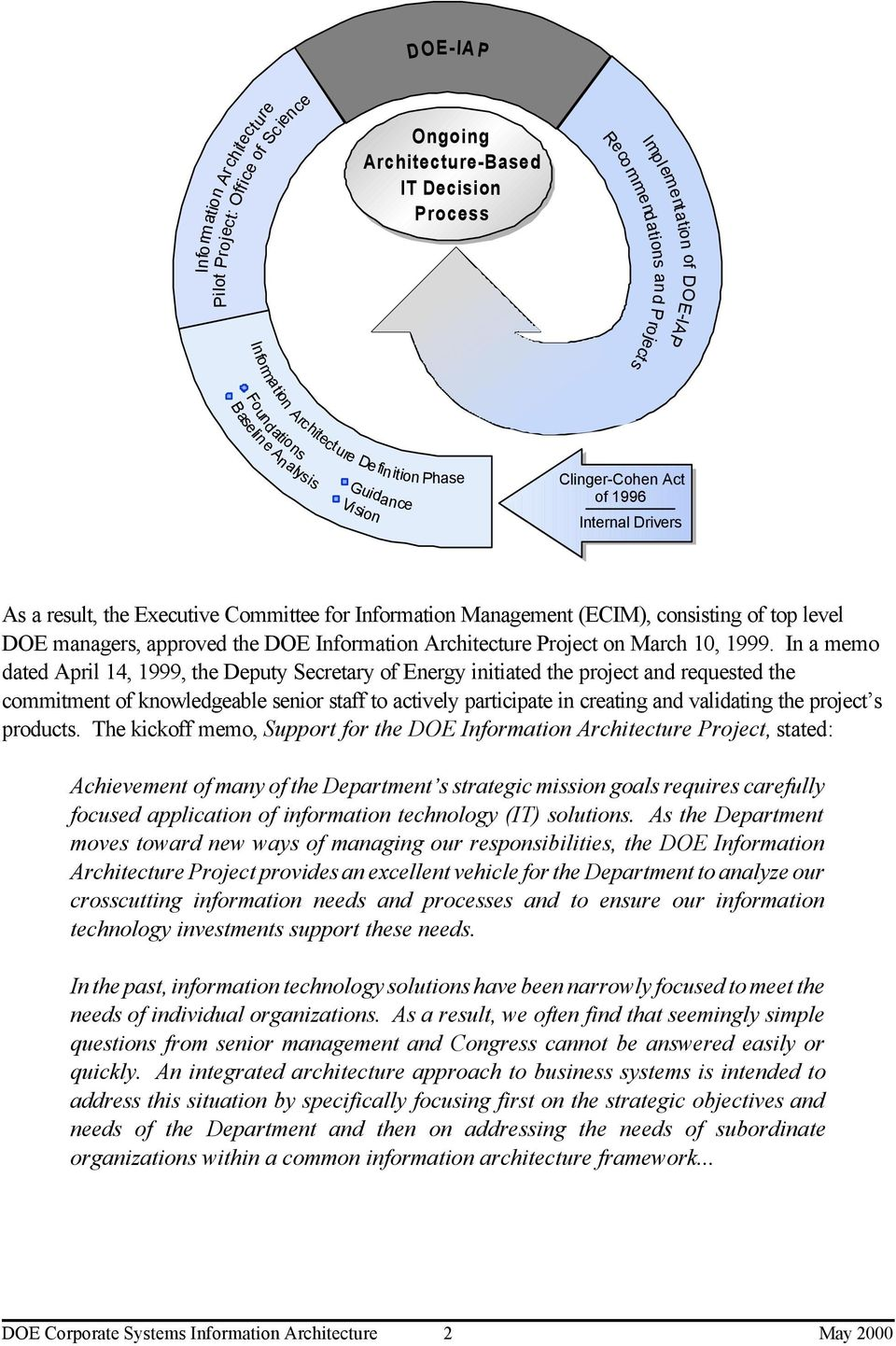level DOE managers, approved the DOE Information Architecture Project on March 10, 1999.