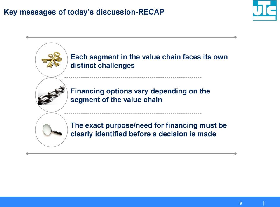 depending on the segment of the value chain The exact purpose/need