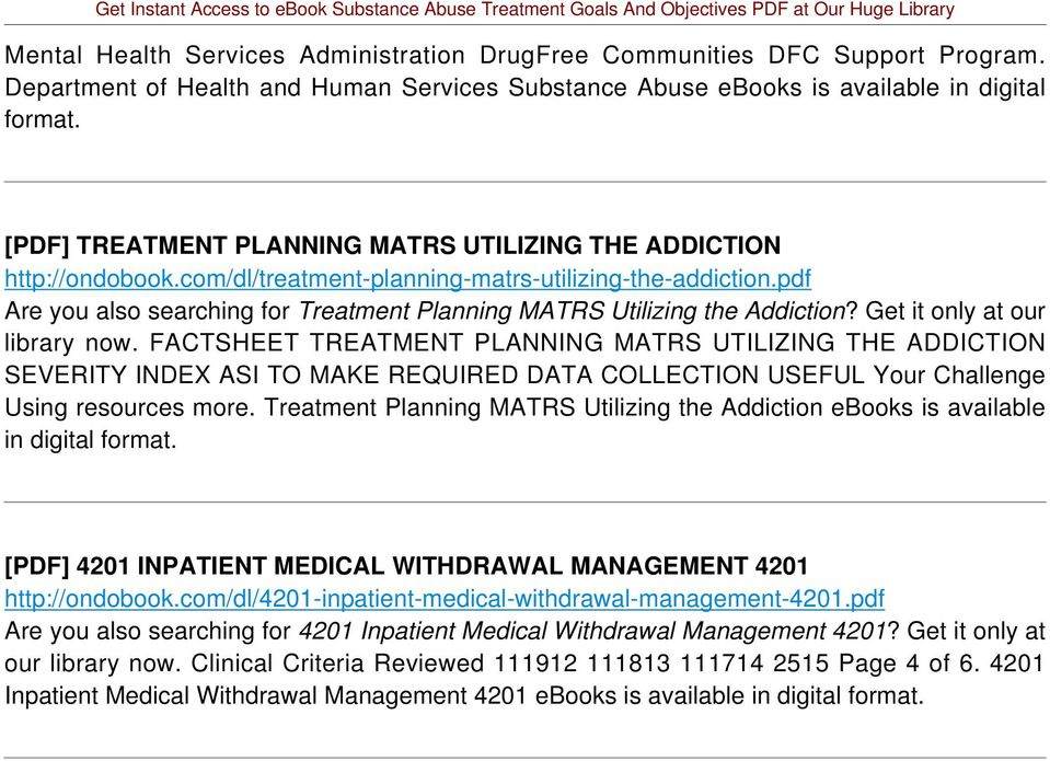 pdf Are you also searching for Treatment Planning MATRS Utilizing the Addiction? Get it only at our library now.