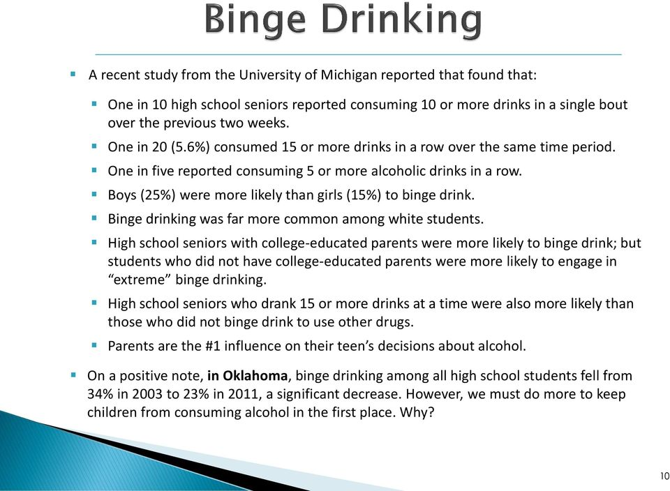 Binge drinking was far more common among white students.