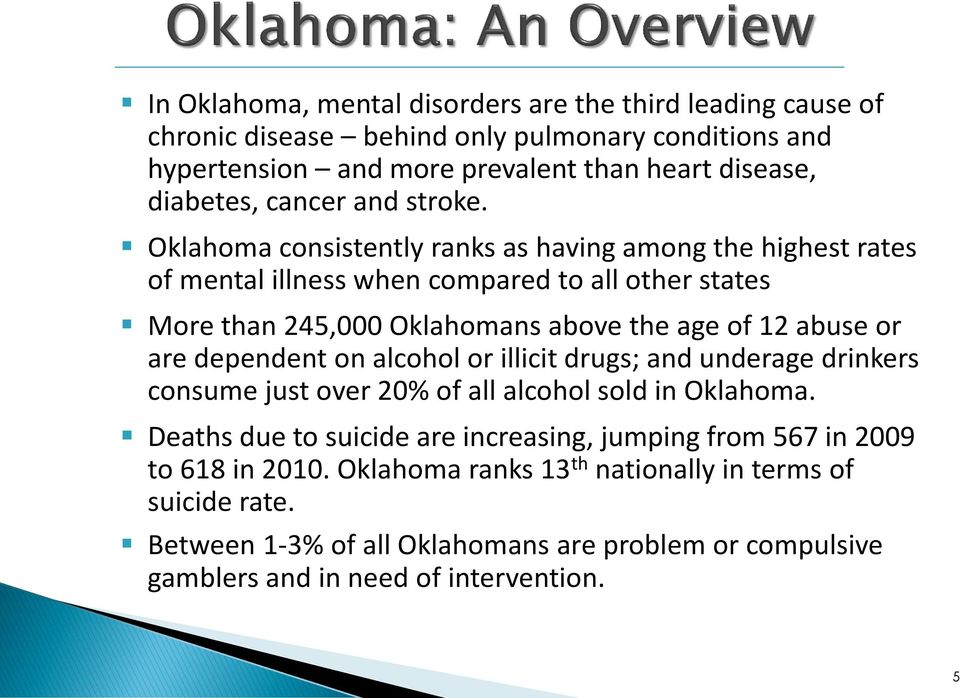 Oklahoma consistently ranks as having among the highest rates of mental illness when compared to all other states More than 245,000 Oklahomans above the age of 12 abuse or are