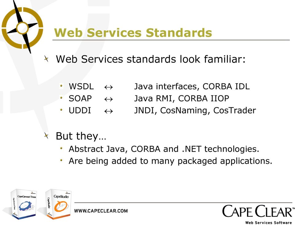 JNDI, CosNaming, CosTrader But they Abstract Java, CORBA and.