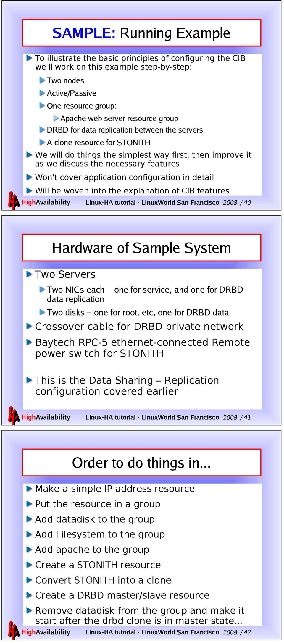 configuration in detail Will be woven into the explanation of CIB features Linux-HA tutorial - LinuxWorld San Francisco 2008 / 40 Hardware of Sample System Two Servers Two NICs each one for service,