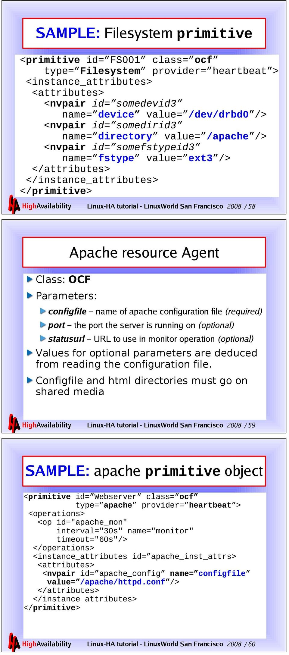2008 / 58 Apache resource Agent Class: OCF Parameters: configfile name of apache configuration file (required) port the port the server is running on (optional) statusurl URL to use in monitor