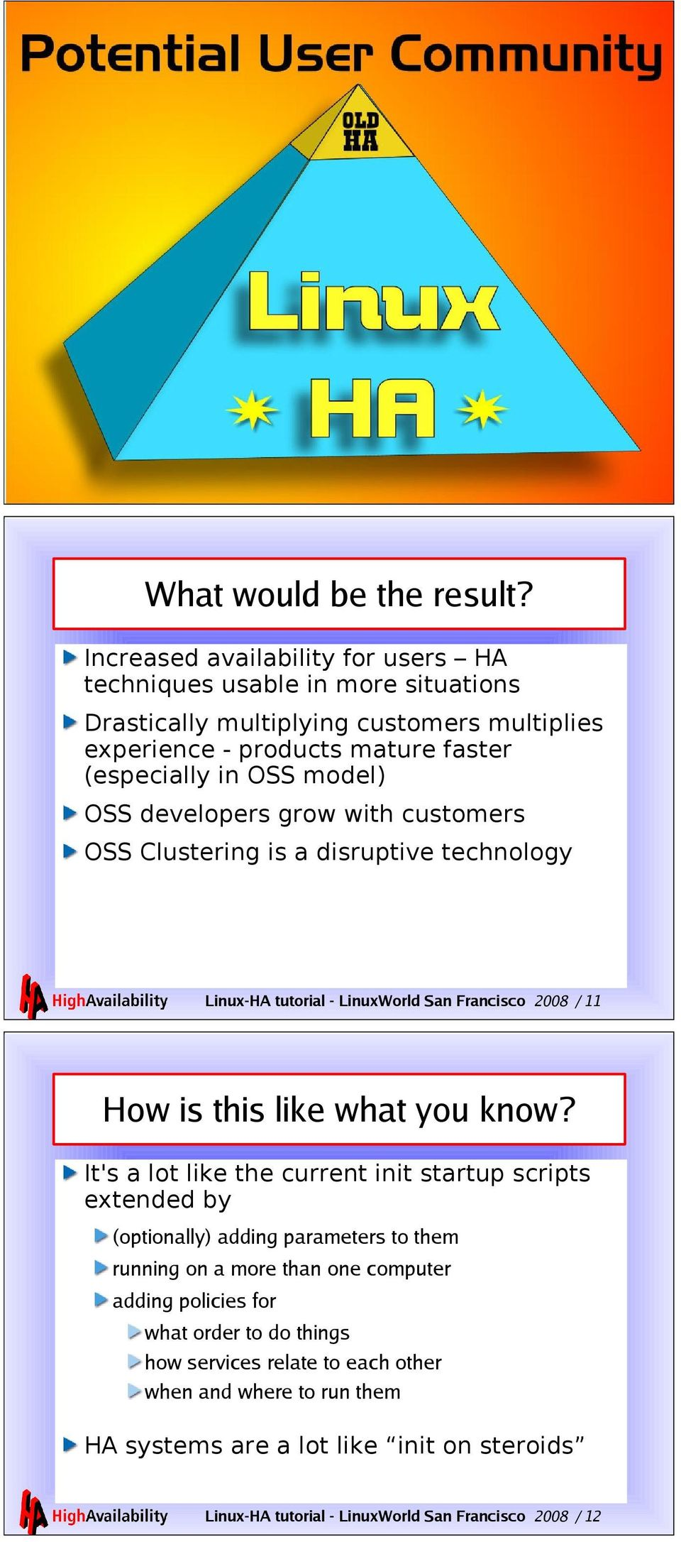 developers grow with customers OSS Clustering is a disruptive technology Linux-HA tutorial - LinuxWorld San Francisco 2008 / 11 How is this like what you know?