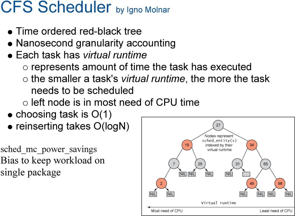 virtual runtime, the more the task needs to be scheduled left node is in most need of CPU time