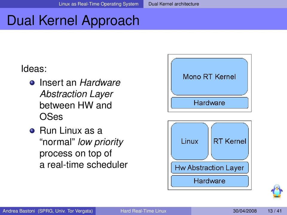 Run Linux as a normal low priority process on top of a real-time scheduler