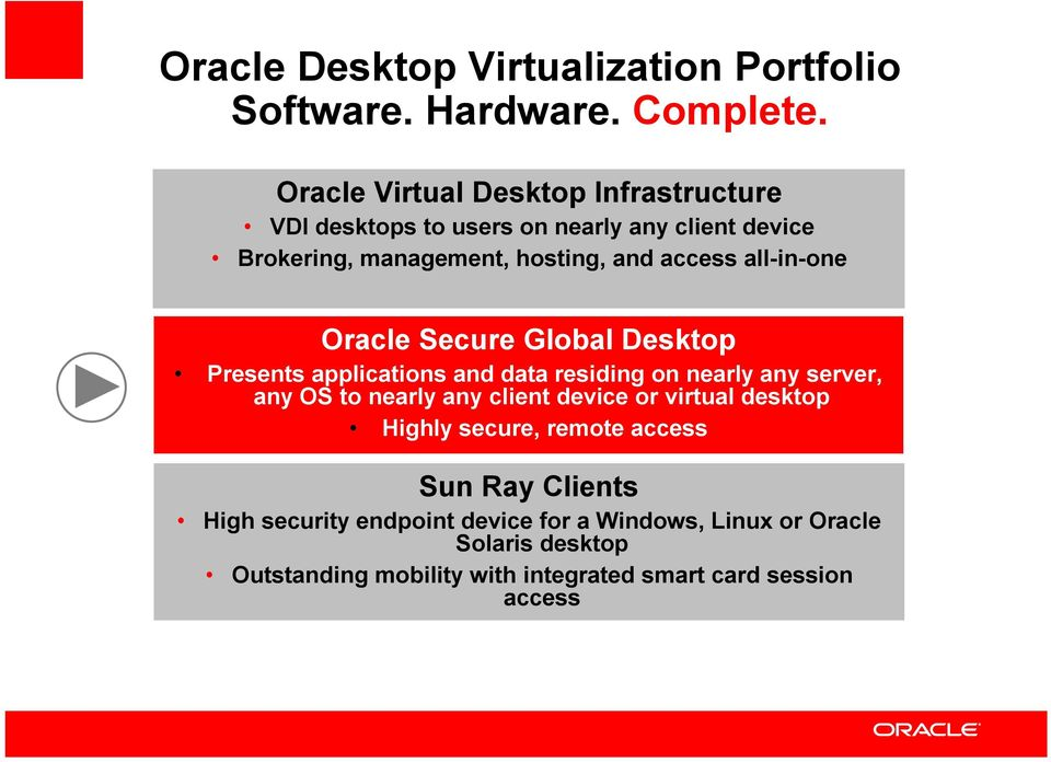 all-in-one Oracle Secure Global Desktop Presents applications and data residing on nearly any server, any OS to nearly any client
