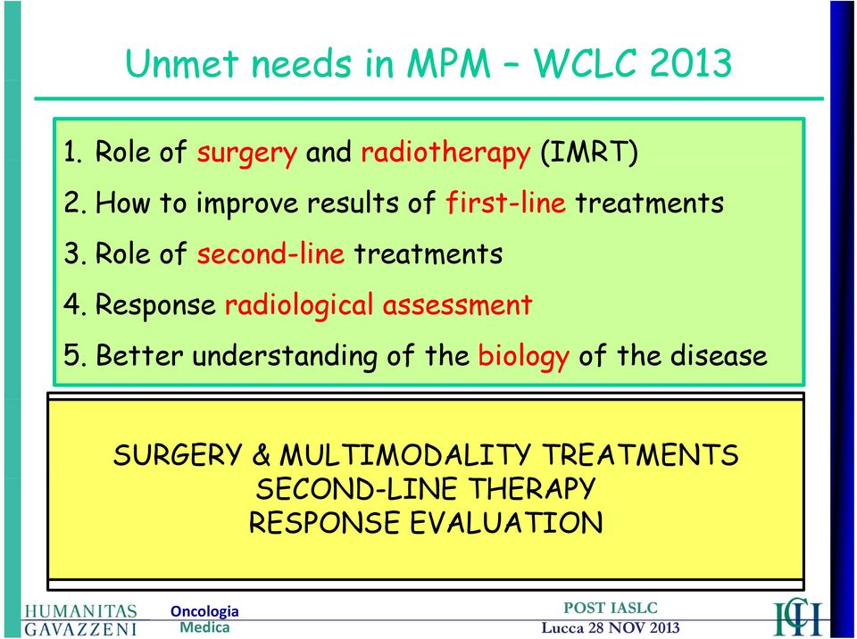 Better understanding of the biology of the disease WCLC SIDNEY 2013 1 Abstract presented during Plenary Session SURGERY &