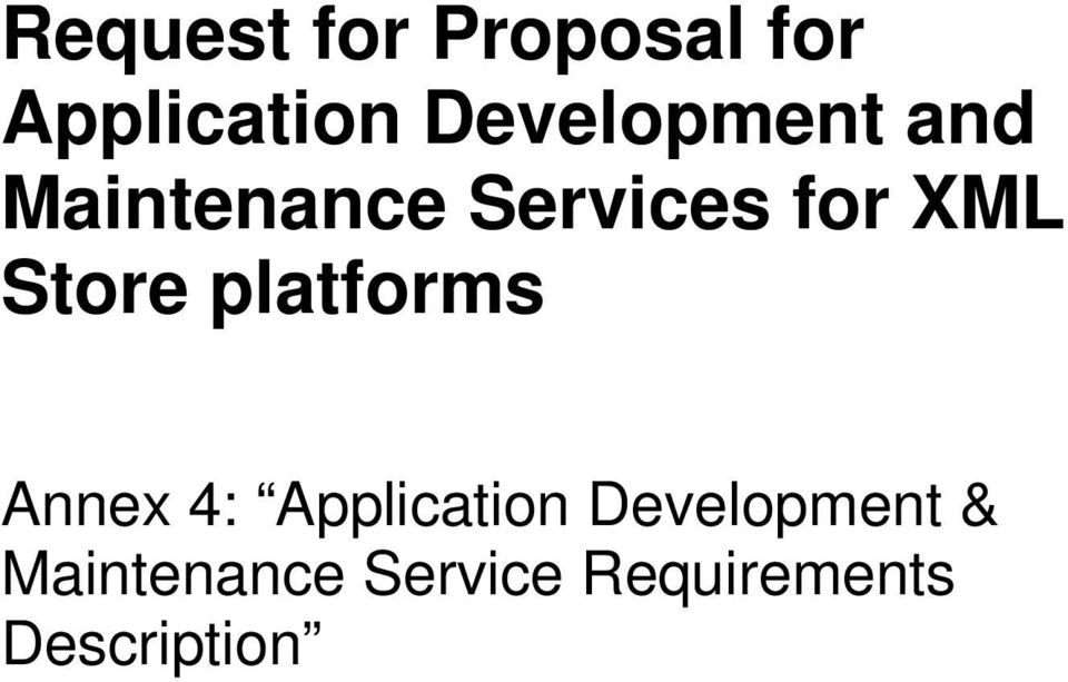 Store platforms Annex 4: Application