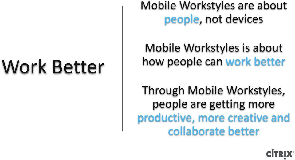 better Through Mobile Workstyles, people are getting