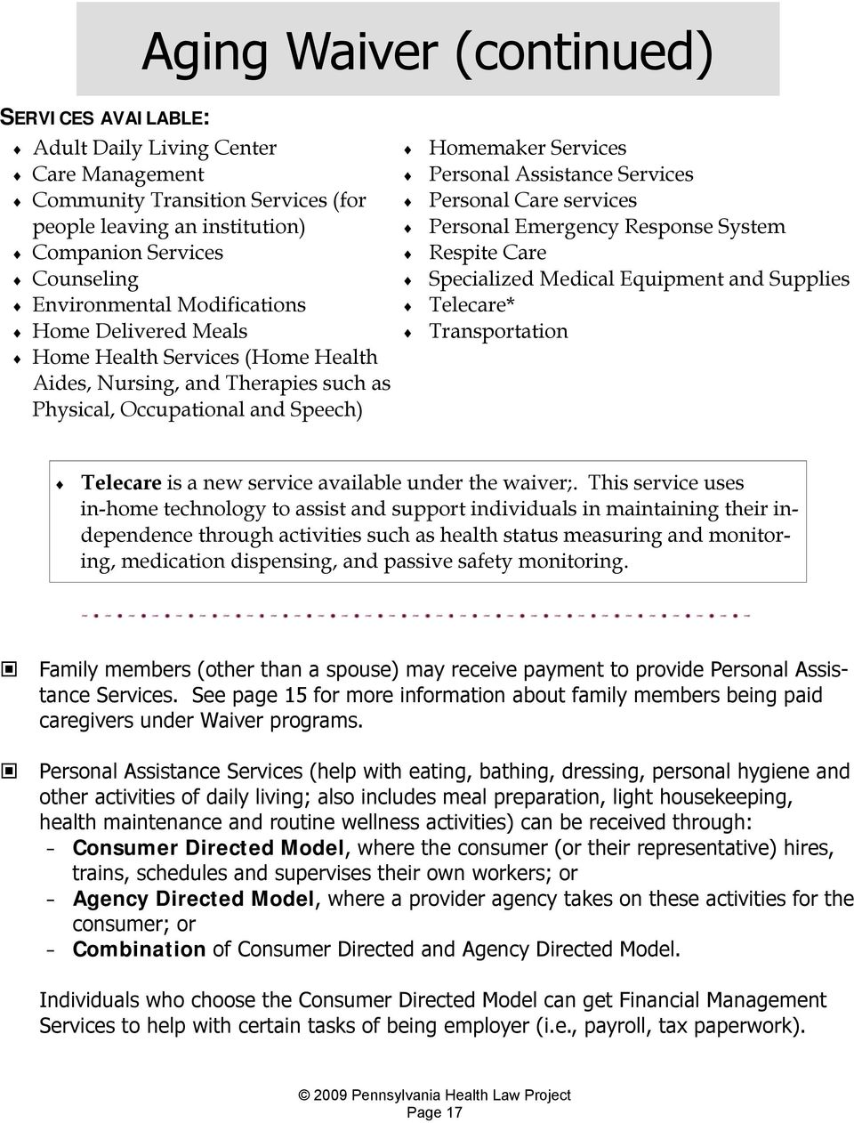 HOME AND COMMUNITY BASED SERVICES (HCBS) WAIVER PROGRAMS: - PDF