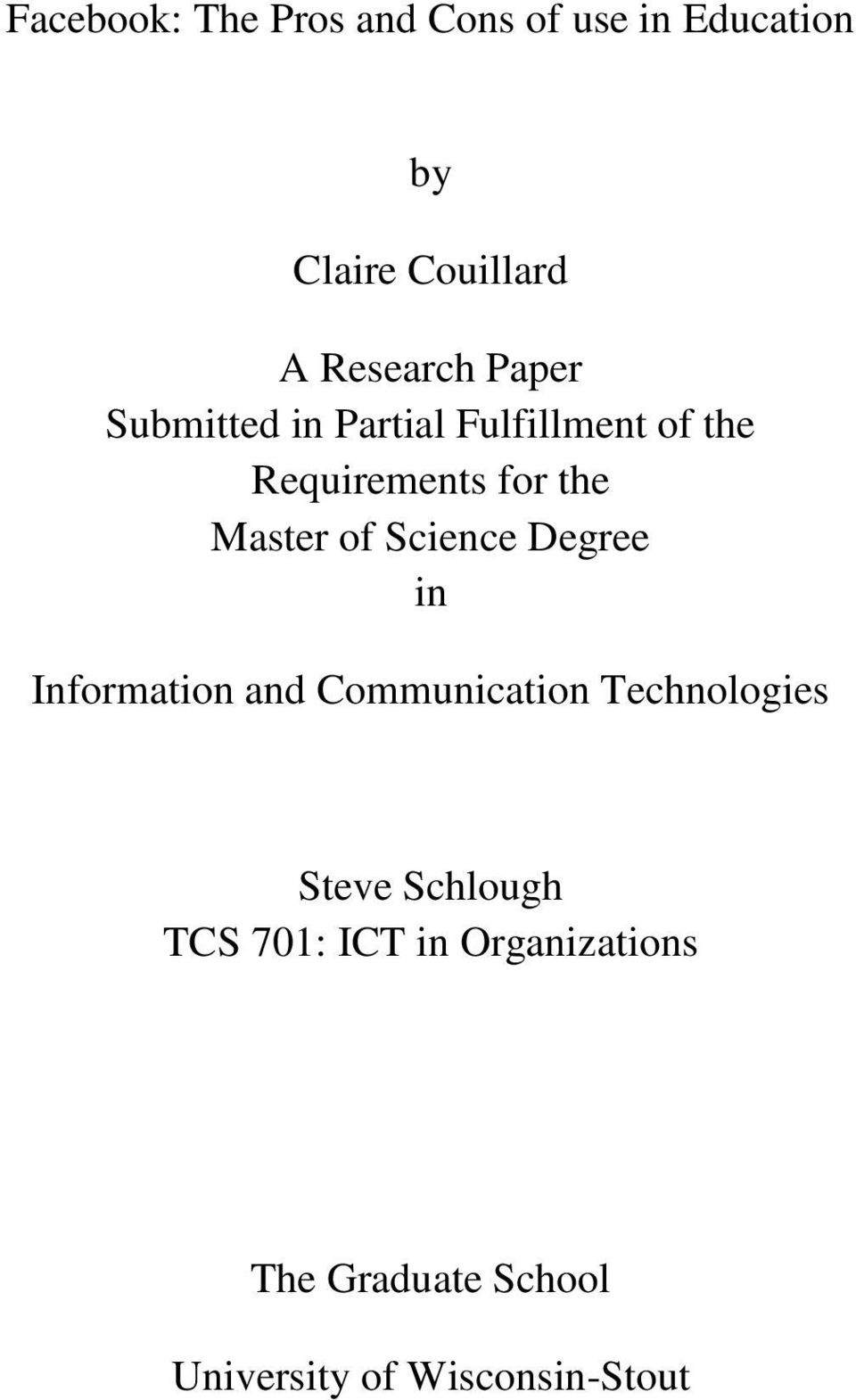 Master of Science Degree in Information and Communication Technologies Steve
