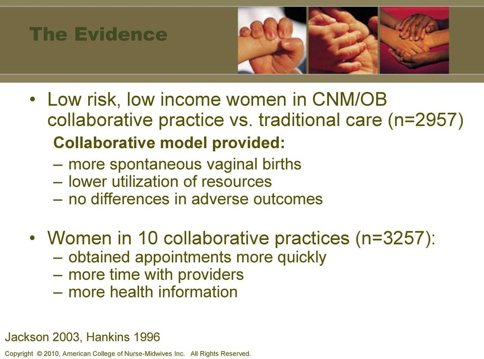 resources no differences in adverse outcomes Women in 10 collaborative practices (n=3257): obtained appointments