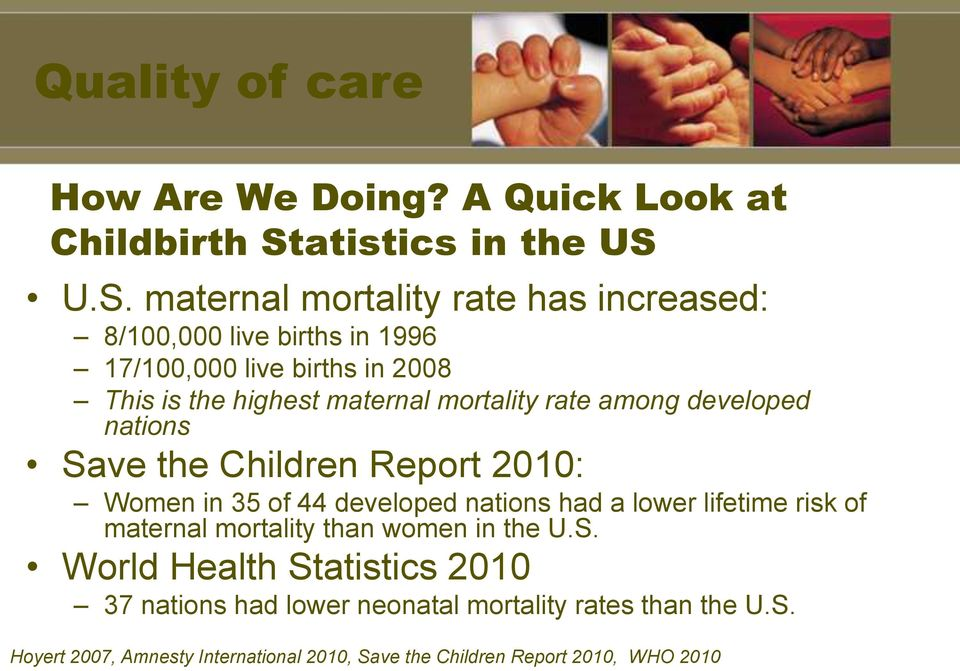 U.S. maternal mortality rate has increased: 8/100,000 live births in 1996 17/100,000 live births in 2008 This is the highest maternal