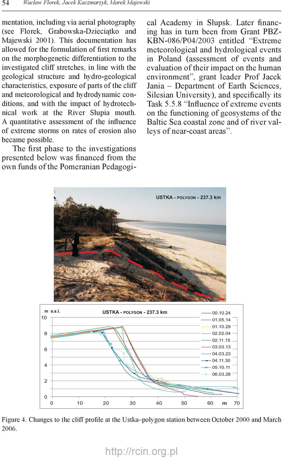 hydro-geological characteristics, exposure of parts of the cliff and meteorological and hydrodynamic conditions, and with the impact of hydrotechnical work at the River Słupia mouth.