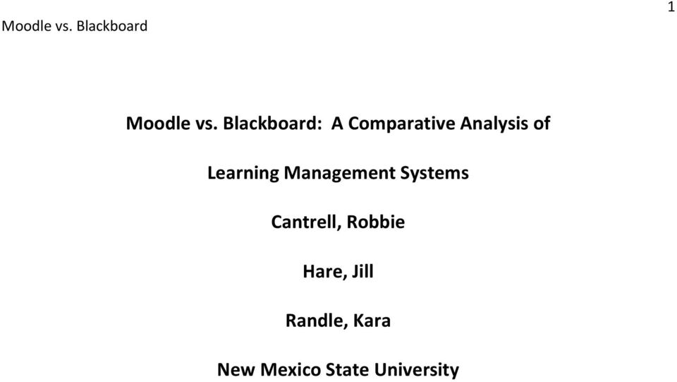 of Learning Management Systems
