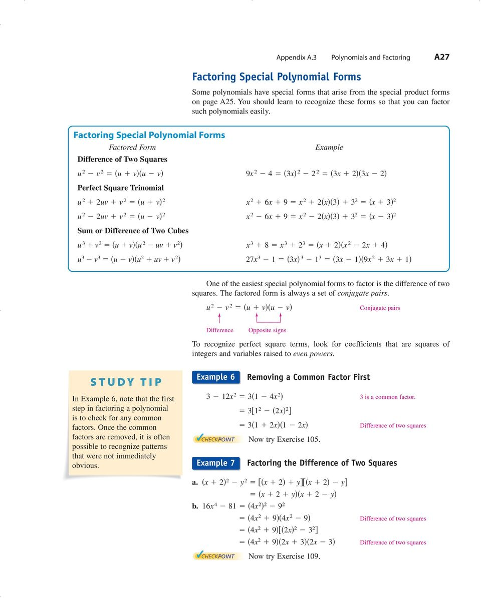 Factoring Special Polynomial Forms Factored Form Difference of Two Squares u 2 v 2 u v u v Eample 9 2 4 3 2 2 2 3 2 3 2 Perfect Square Trinomial u 2 2uv v 2 u v 2 u 2 2uv v 2 u v 2 2 6 9 2 2 3 3 2 3