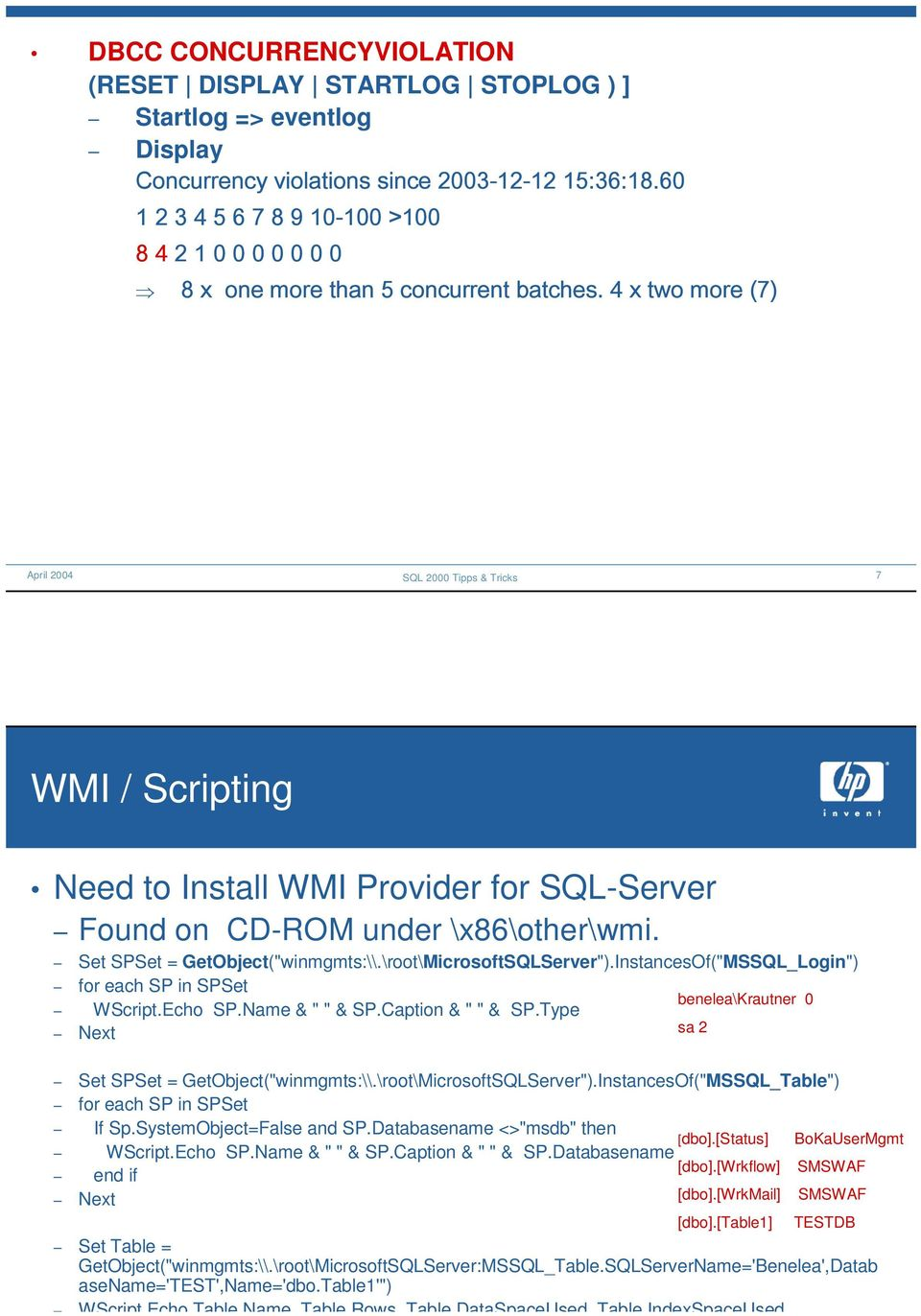 "4 x two more (7) 7 WMI / Scripting Need to Install WMI Provider for SQL-Server Found on CD-ROM under \x86\other\wmi. Set SPSet = GetObject(""winmgmts:\\.\root\MicrosoftSQLServer"")."
