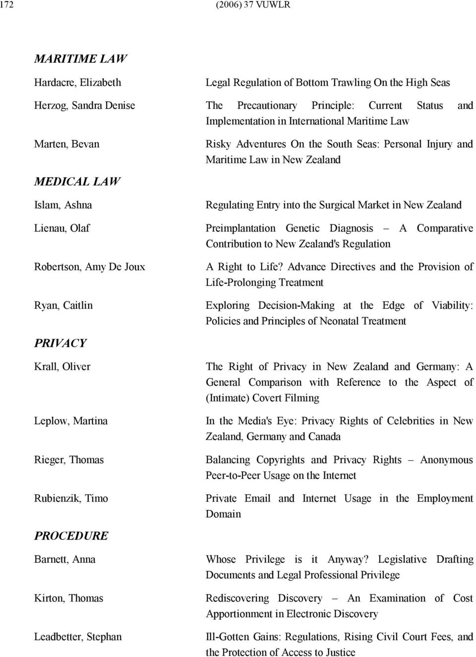 Barnett, Anna Kirton, Thomas Leadbetter, Stephan Risky Adventures On the South Seas: Personal Injury and Maritime Law in New Zealand Regulating Entry into the Surgical Market in New Zealand