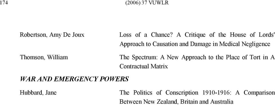 Thomson, William WAR AND EMERGENCY POWERS The Spectrum: A New Approach to the Place of Tort
