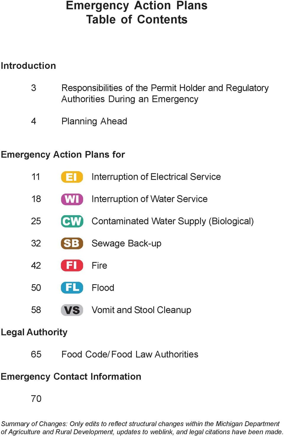 42 Fire 50 Flood 58 Vomit and Stool Cleanup Legal Authority 65 Food Code/ Food Law Authorities Emergency Contact Information 70 Summary of Changes: Only