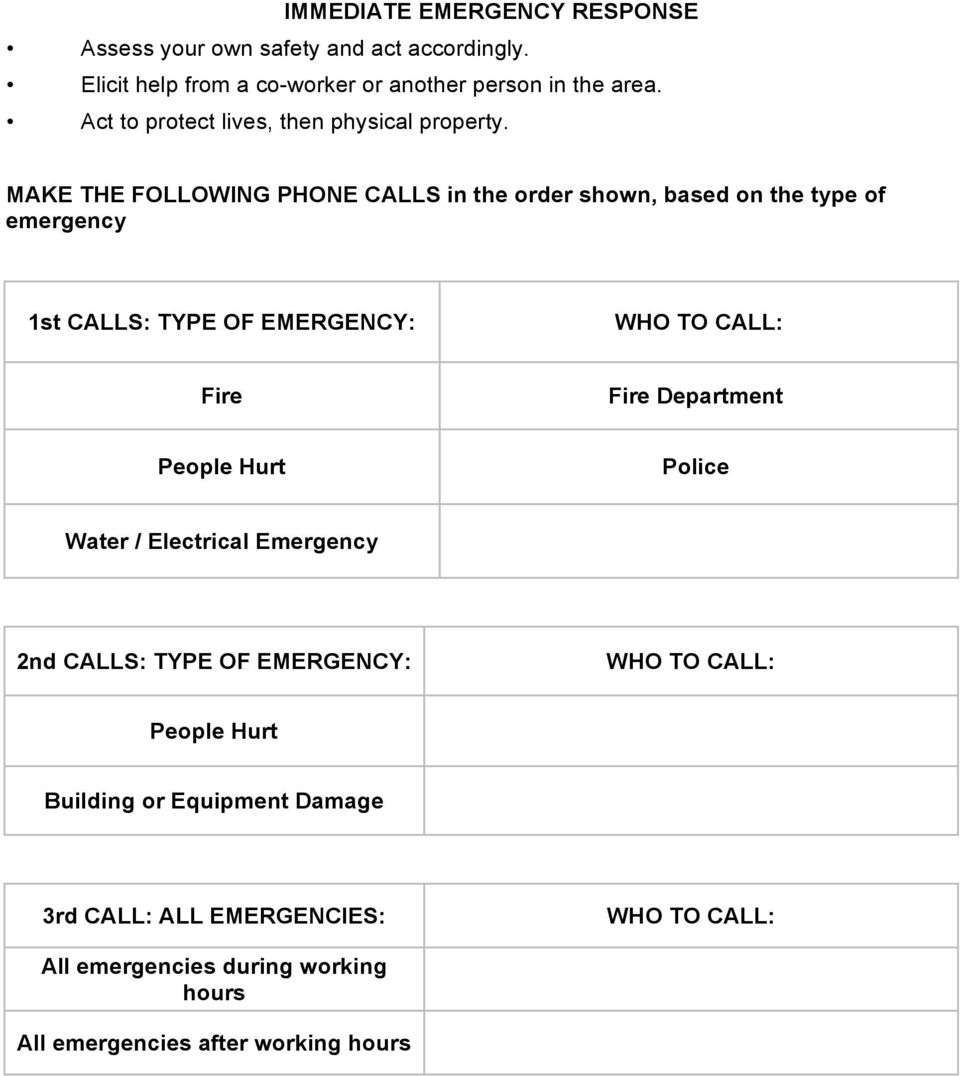 MAKE THE FOLLOWING PHONE CALLS in the order shown, based on the type of emergency 1st CALLS: TYPE OF EMERGENCY: WHO TO CALL: Fire Fire