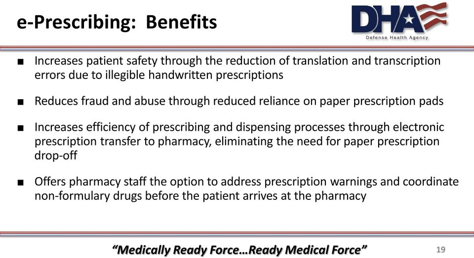 prescribing and dispensing processes through electronic prescription transfer to pharmacy, eliminating the need for paper prescription