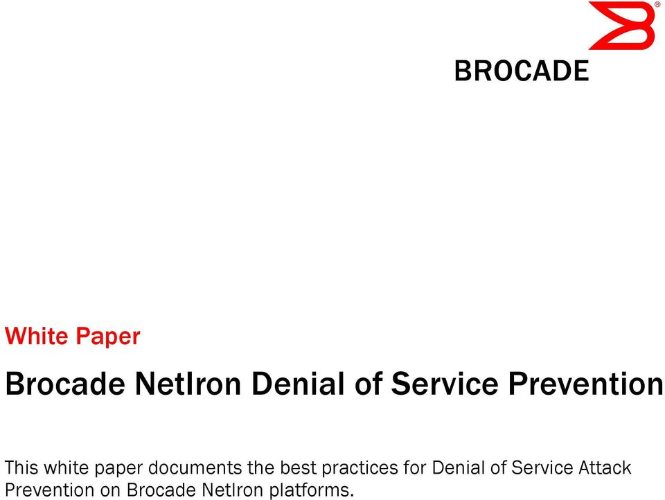 documents the best practices for Denial of
