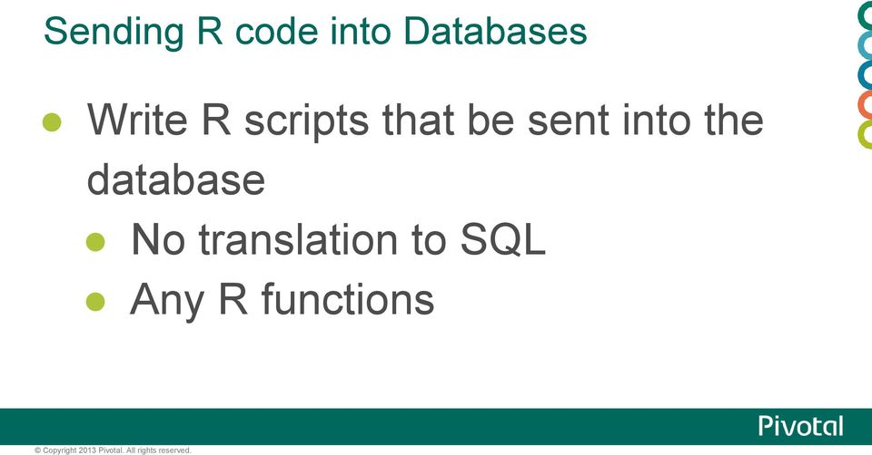 No translation to SQL Any R functions