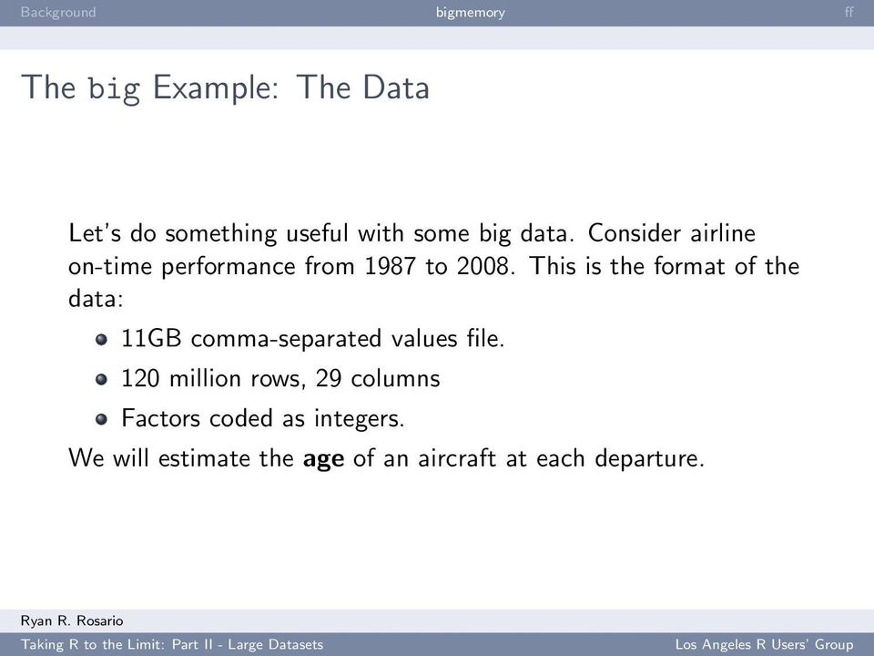 This is the format of the data: 11GB comma-separated values file.