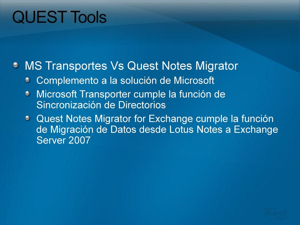 Sincronización de Directorios Quest Notes Migrator for Exchange