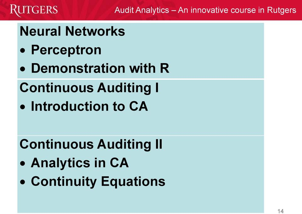 Analytics An innovative course in Rutgers