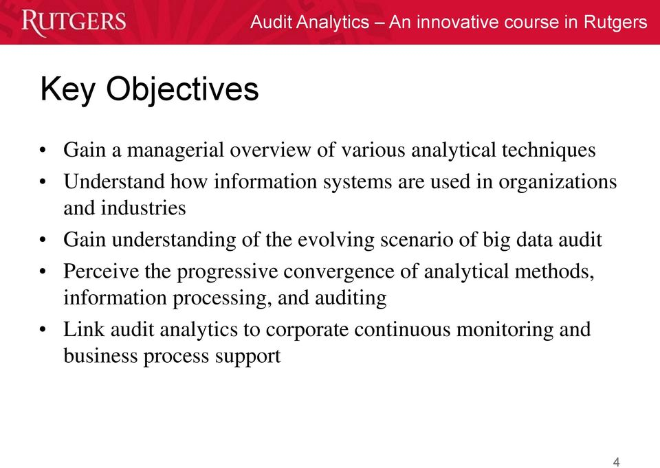 scenario of big data audit Perceive the progressive convergence of analytical methods, information