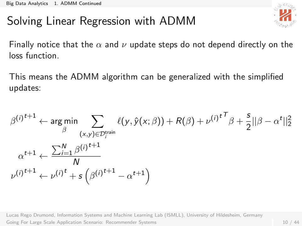 This means the ADMM algorithm can be generalized with the simplified updates: β (i)t+1 arg min β (x,y) D