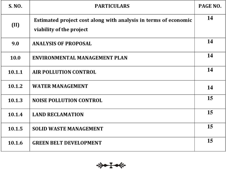 14 9.0 ANALYSIS OF PROPOSAL 14 10.0 ENVIRONMENTAL MANAGEMENT PLAN 14 10.1.1 AIR POLLUTION CONTROL 14 10.