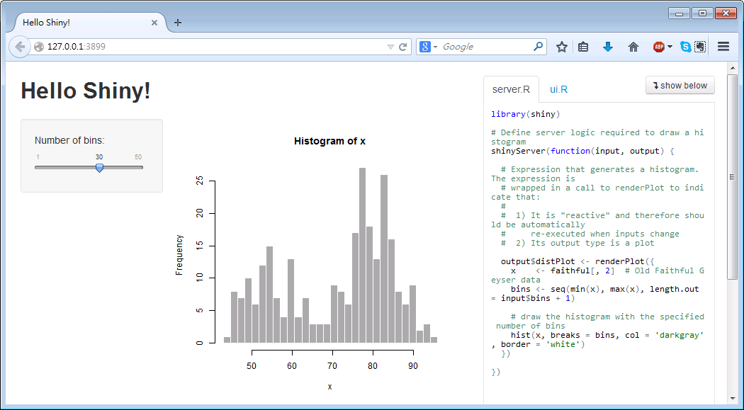 Shiny Easy Web Application Developed by RStudio http://www.rstudio.