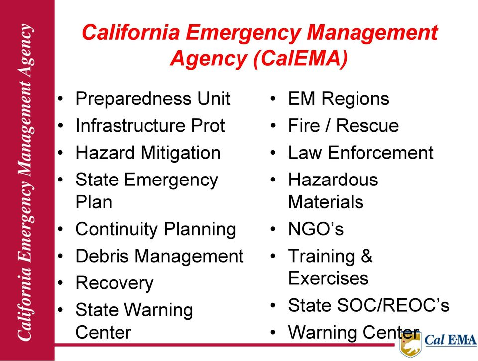 Planning Debris Management Recovery State Warning Center EM Regions Fire /