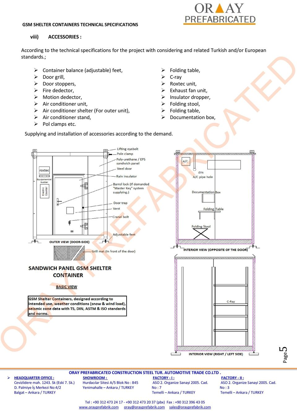 ; Container balance (adjustable) feet, Door grill, Door stoppers, Fire dedector, Motion dedector, Air conditioner unit, Air