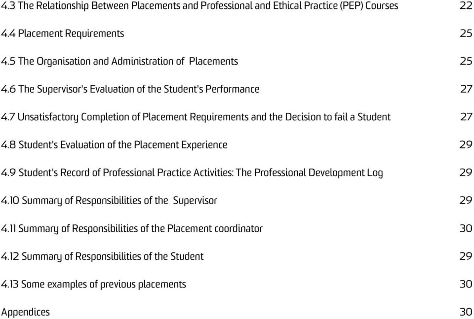 7 Unsatisfactory Completion of Placement Requirements and the Decision to fail a Student 27 4.8 Student's Evaluation of the Placement Experience 29 4.